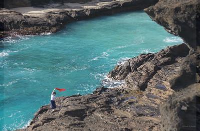 red scarf woman, near Makapua lookout, Oahu