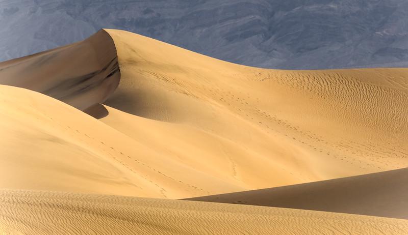 sun rising over the Mesquite Sand Dunes