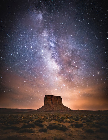 Milky Way over Monument Valley, Utah