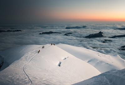 Arête des Bosses at Dawn, Mont Blanc, France