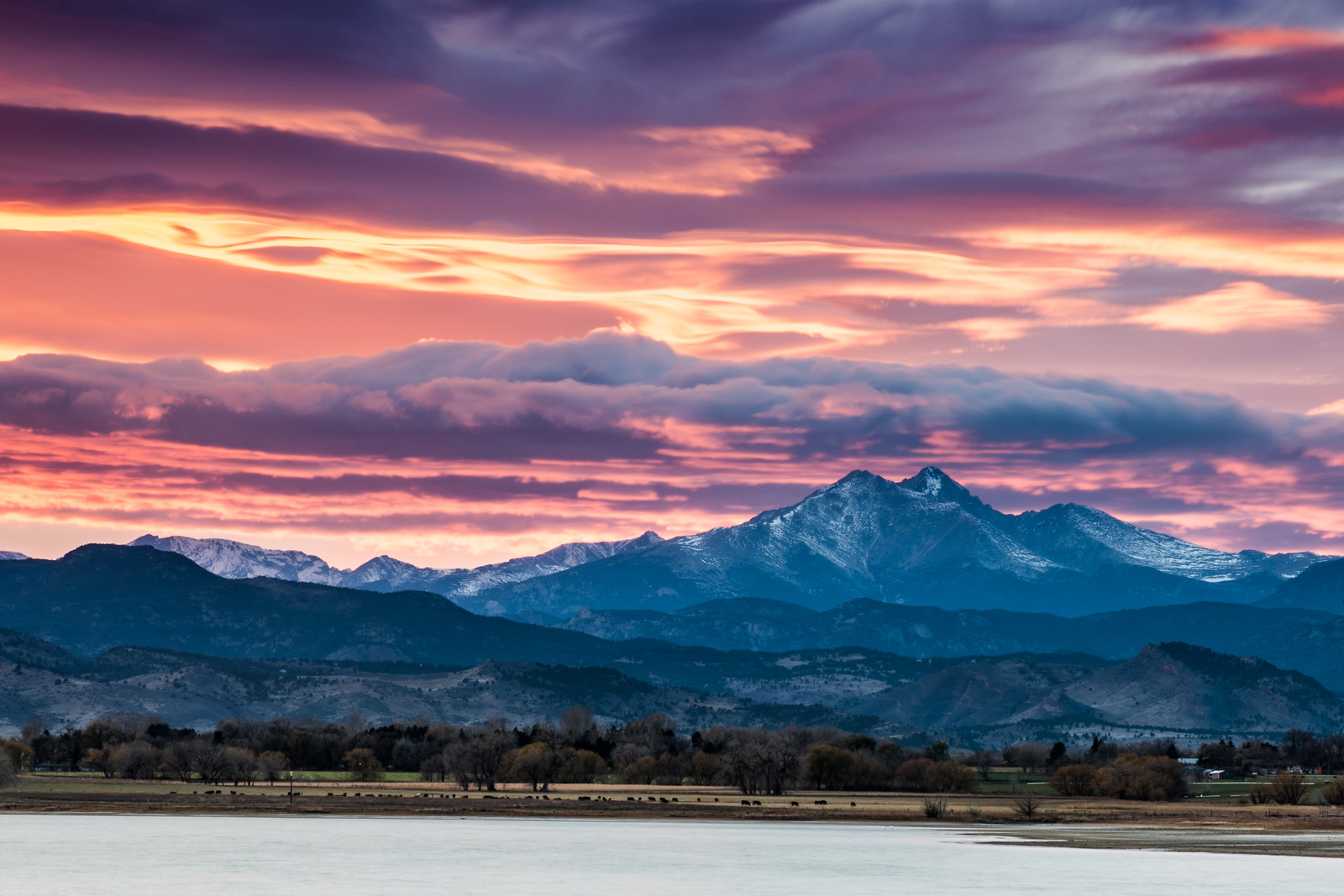 Longs Peak from Longmont, Colorado at Sunset