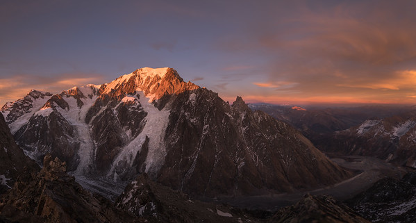 Mont Blanc (4808m) West Face at sunset. From from the summit of Petit Mont Blanc, Val Veny, Italy