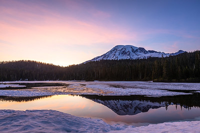 Sunset Hues, Reflection Lakes, Mount Rainier National Park