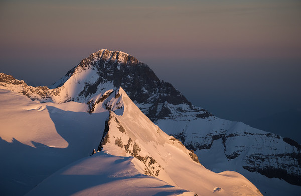 Eiger and Kleines Fiescherhorn at sunrise from Finsteraarhorn, Switzerland