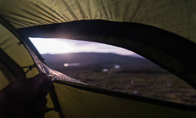 Recovering while the rain hammers the tent and the sun is annoyingly close. Typical swedish mountain weather!