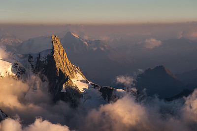 Dent du Géant at sunset, from the Aiguille Verte, Chamonix, France