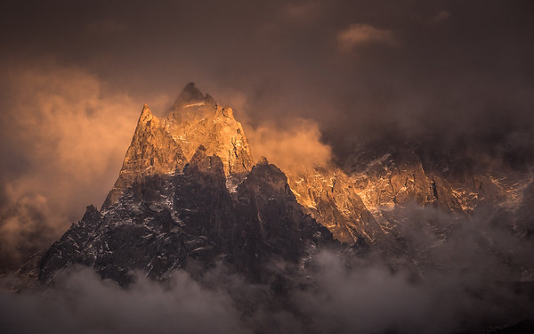 Aiguille du Peigne at sunset, Chamonix, France