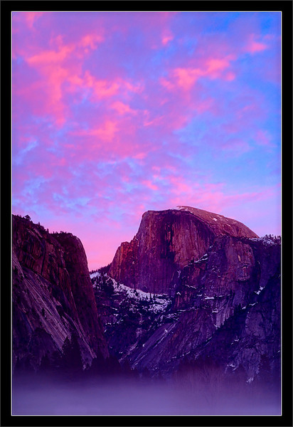 Half Dome: Colored Clouds & Meadow Fog  Clouds over Half Dome reflect the sunset's last light.  Ahwahnee Meadow Yosemite National Park, California  13-DEC-2010