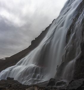 Panoramic Dynjandi waterfall in the Westfjords, Iceland