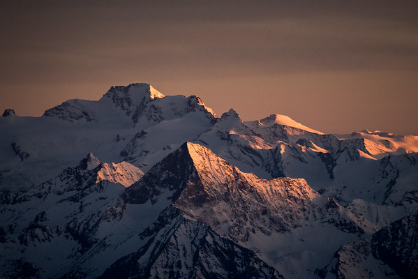 Gran Paradiso and Mont Emilius at sunset, Italy