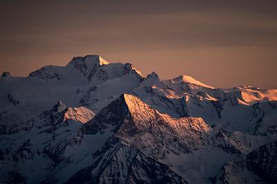 Gran Paradiso and Mont Emilius at sunset, Italy