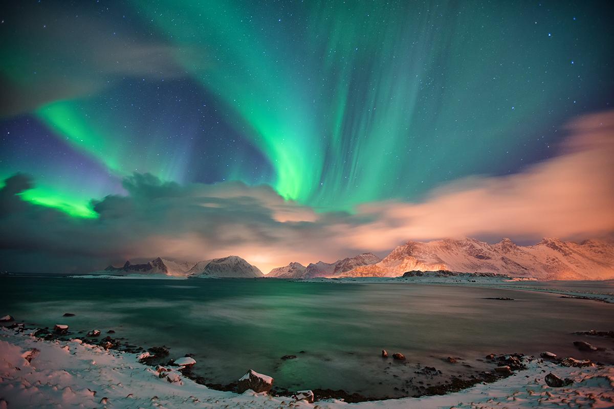 norway, lofoten, northern lights, aurora borealis, mountains, long exposure