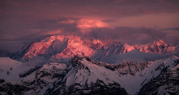 Stormy sunset over Mont Blanc, from Semnoz, France