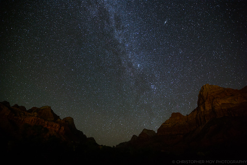 Made from 13 light frames (captured with a Canon camera) by Starry Landscape Stacker 1.6.2.  Algorithm: Median