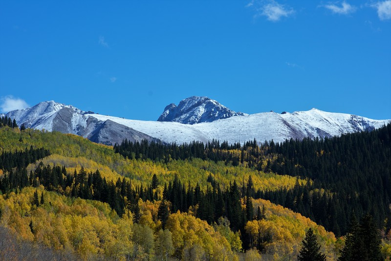 Snow covered mountain in the Colorado fall