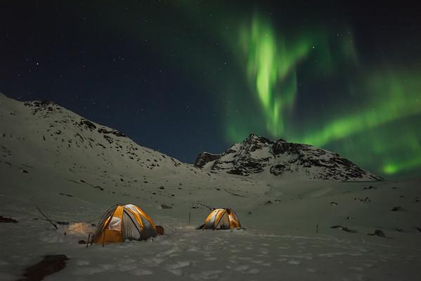 Aurora Borealis over camp, East Greenland