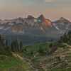 A gorgeous view as seen from Sky Line Trail of the Tatoosh Mountain Range during sunset Mt Rainier National Park.