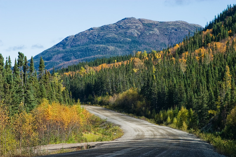 Rural Highway in Northern Quebec in Autumn