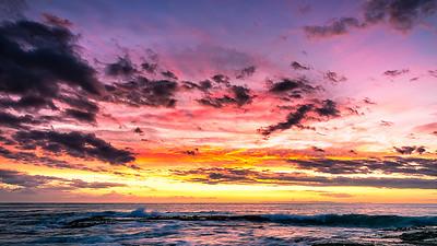 The sun set on 2018 in a grand style. Aliso Creek, Laguna Beach Sunset Dec 31, 2018; New Years Eve.