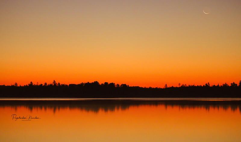 Crescent moon and Lake!