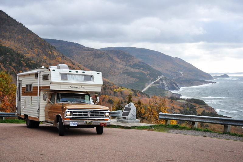 Vintage Motor Home Stops at a Look-Off on the Cabot Trail, Cape Breton, Nova Scotia