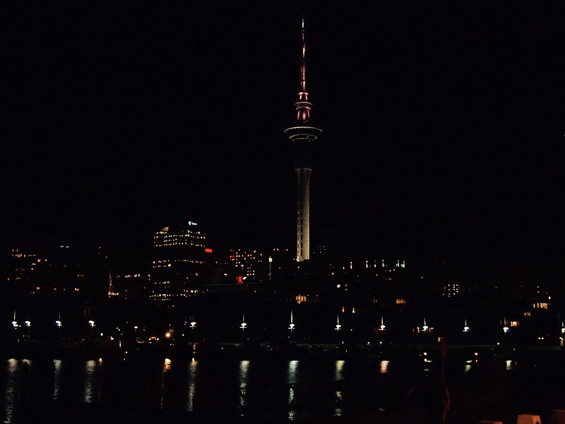 Sky tower Auckland NZ at night