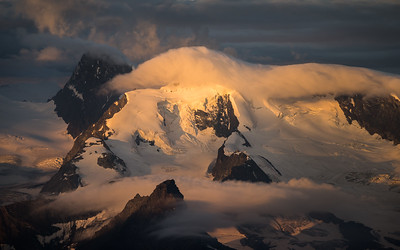 Allalinhorn at sunrise, seen from the Lagginhorn, Switzerland