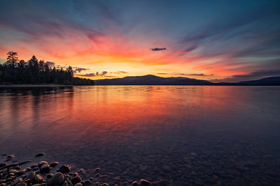 Sunset over lake in Truckee