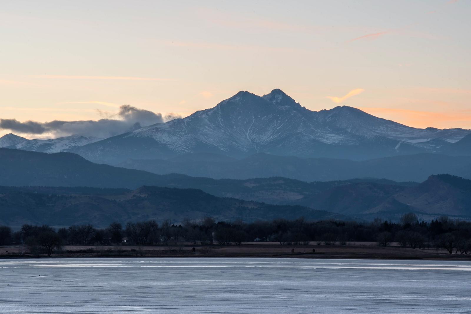 Longs Peak from Longmont, Colorado, at Sunset