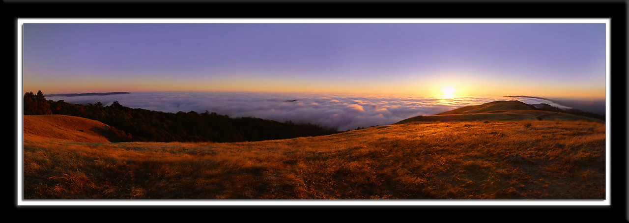 Russian Ridge: Marine Layer at Sunset  Looking into the Pacific Ocean marine layer  (Russian Ridge Open Space Preserve)   24-JUL-2004