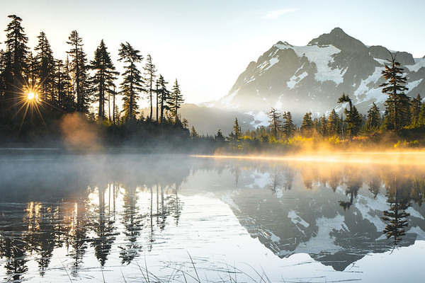 Artist Lake with Mount Shuksan, Washington