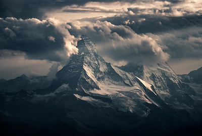 Matterhorn and a stormy sunset. Taken from Mischabeljoch Bivouac, Switzerland