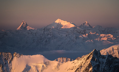 Matterhorn, Weisshorn and Dent Blanche at sunrise from Finsteraarhorn, Switzerland