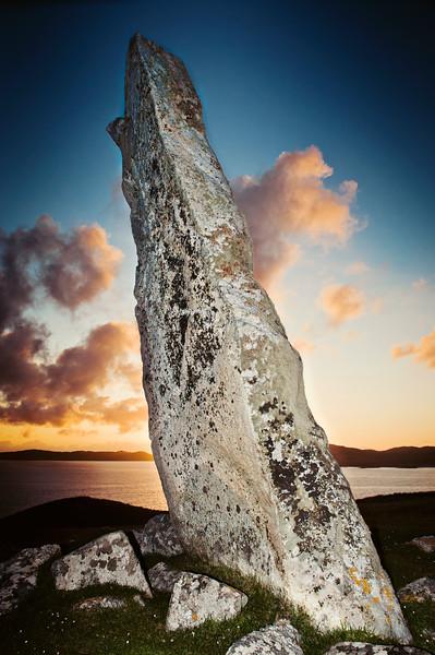 MacLeod Standing Stone on Isle of Harris - Sunset