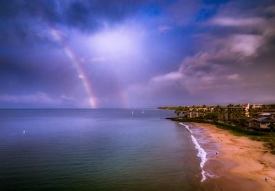 Dueling Rainbows Maui Coast