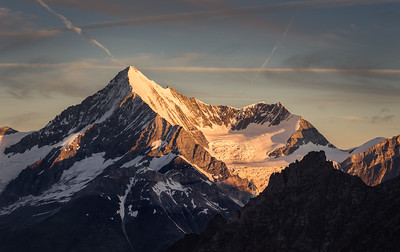Weisshorn at sunrise from Alphubel. Switzerland