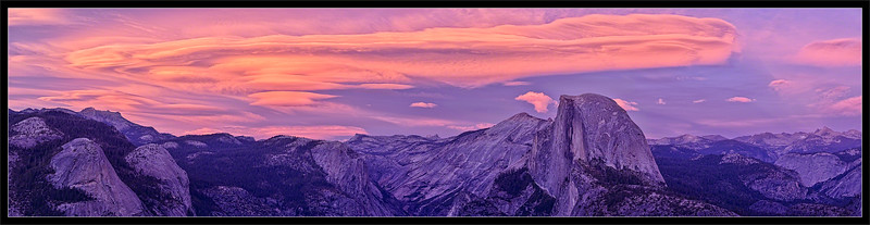 Lenticular Clouds Over Half Dome at Sunset