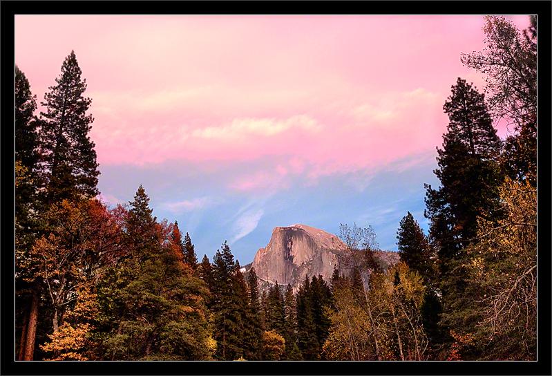 Sunset Clouds Above Half Dome  A pink sunset and fall colors on the banks of the Merced River frame Half Dome.  Yosemite Valley Yosemite National Park, California  14-NOV-2010