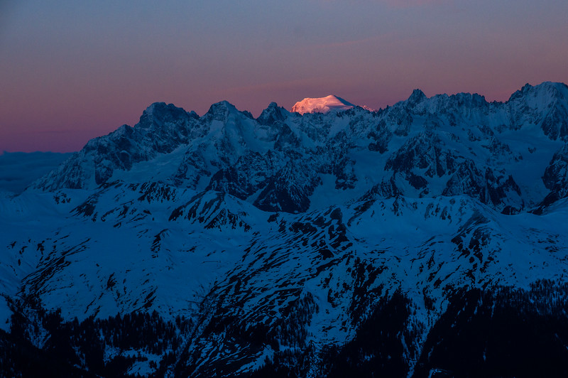 Sunrise over the Mont Blanc Massif. Verbier, Switzerland.
