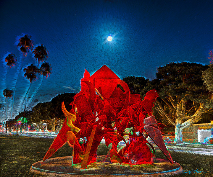 """BEVERLY HILLS SCULPTURE UNDER FULL MOON"""