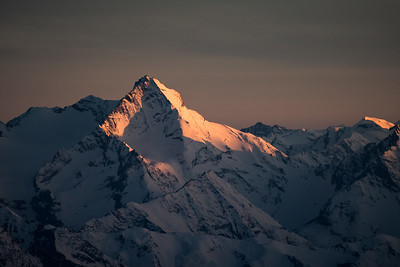 Grivola (3969m) above Aosta at sunset from the Dent d'Herens
