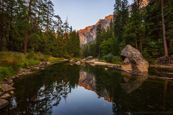 Sunset somewhere along the Merced River Yosemite