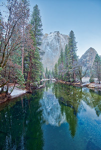 The river mirroring the mountain and the trees is holding another secret. My daughter pointed out the huge fish meandering upstream. I had to convince myself and her that despite of what we see in the water, there's no such thing as orcas in Yosemite