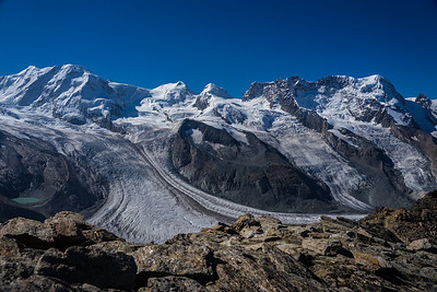 A view of Laksamm, Castor, Pollux and the Breithorn from the Gornergrat. Zermatt, Switzerland.