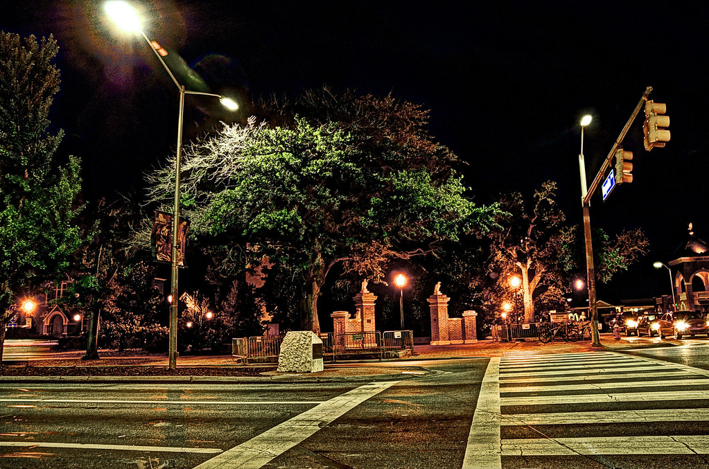 Toomer's Oaks at night