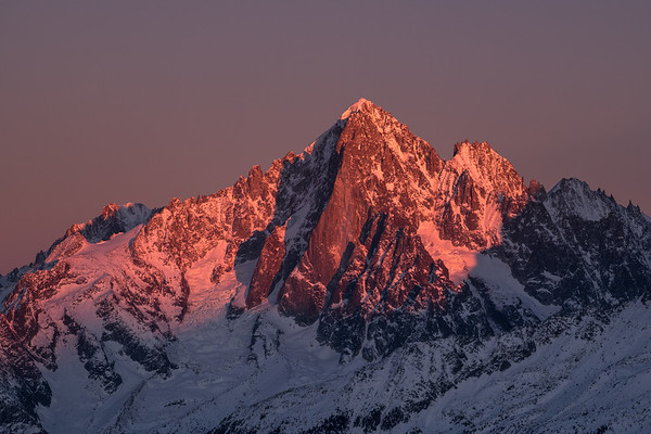 West Face of the Aiguille Verte (4122m) and Les Drus at sunset, Chamonix