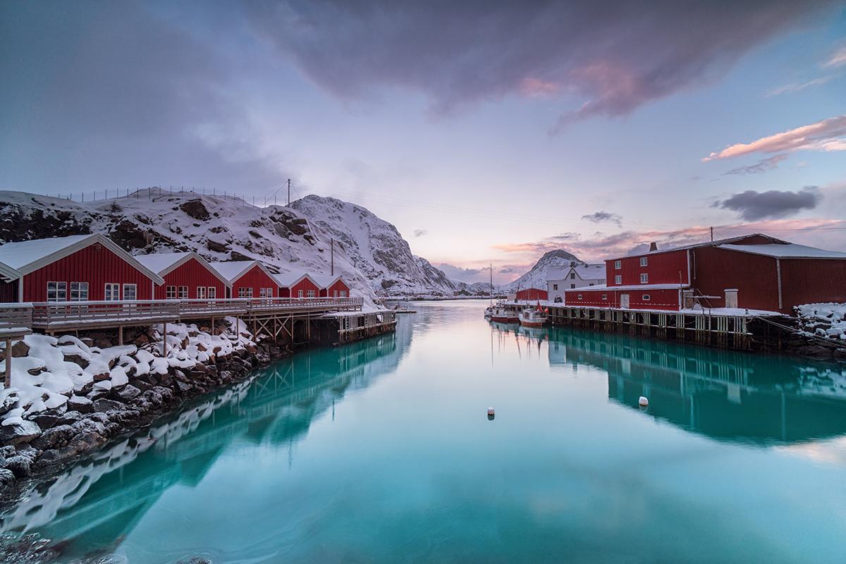 lofoten, norway, sunset, houses, red, lake