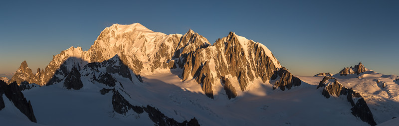 Mont Blanc at sunrise from the foot of the Dent du Geant