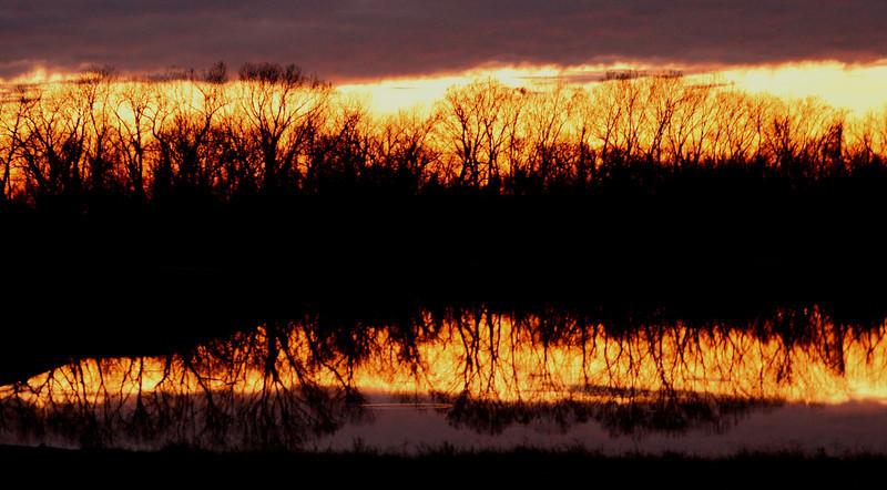 Sunset over pond Sugar Land TX