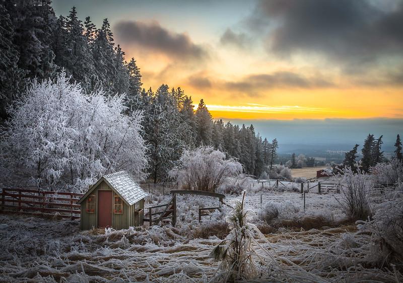 Sunset winter view